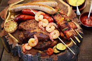 Фото Мясные продукты Шашлык Сосиска Креветки