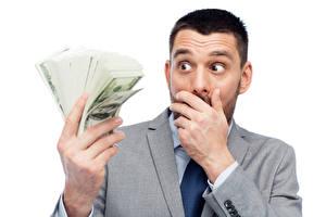 Фото Мужчины Деньги Доллары Пальцы Белый фон Удивление