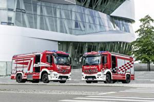 Фотография Mercedes-Benz Пожарный автомобиль Вдвоем 2016 Antos 1843 Rosenbauer AT HLF 40