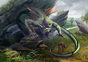 Обои Чудовище Злость Хвост Рога Фантастика