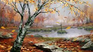 Фотография Рисованные Осень Болотом Крест Березы Природа