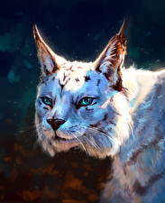 Картинка Рисованные Большие кошки Рыси Голова Взгляд