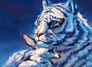 Фотография Рисованные Большие кошки Тигры Лисица
