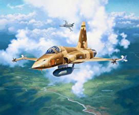 Фото Рисованные Самолеты Истребители Американские Летящий Northrop F-5E Tiger II Авиация