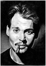 Фотографии Рисованные Джонни Депп Мужчины Черно белое Сигарета Смотрит Знаменитости