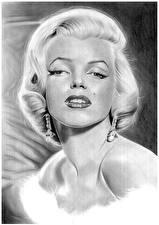 Обои Рисованные Marilyn Monroe Черно белое Смотрит Знаменитости Девушки