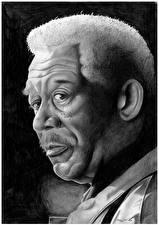 Картинки Рисованные Негр Черно белое Голова Смотрит Morgan Freeman Знаменитости