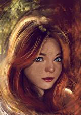 Фотографии Рисованные Рыжая Голова Смотрит Милые Девушки