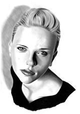 Фотографии Рисованные Скарлетт Йоханссон Черно белое Белый фон Голова Взгляд Знаменитости Девушки