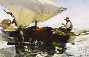 Фото Картина Лодки Парусные Быки Joaquin Sorolla, The Return from Fishing