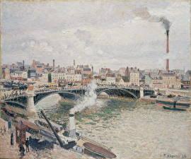 Картинки Картина Мосты Речка Франция Camille Pissarro, Morning, An Overcast Day, Rouen Города