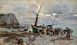 Картинки Картина Берег Лодки Giovanni Boldini, The Return of the Fishing Boats, Etretat