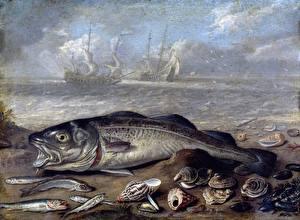 Фотография Картина Рыбы Jan van Kessel I, Fish and shells on the beach