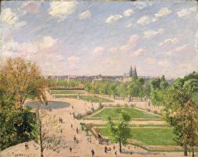 Фотографии Картина Франция Парки Париж Camille Pissarro, The Garden of the Tuileries on a Spring Morning