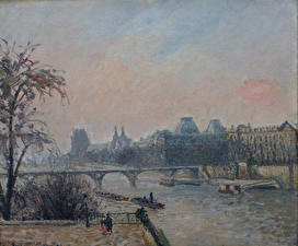 Фотография Картина Франция Речка Париж Camille Pissarro, The Seine and the Louvre, Paris