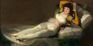 Фотография Картина Брюнетка Кровать Francisco Goya, The Clothed Maja Девушки