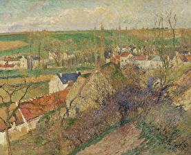 Картинка Картина Здания Франция Camille Pissarro, View of Osny near Pontoise