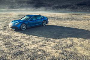 Обои Porsche Синий 2016 Panamera 4S Авто