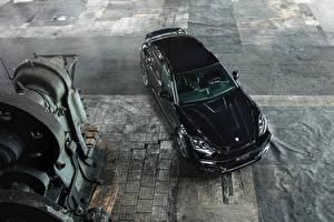 Картинки Порше Черный Сверху 2017 TechArt Panamera Grand GT Авто