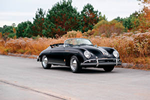 Картинки Порше Ретро Черный Металлик Кабриолет 1958-59 356A 1600 Speedster by Reutter Машины