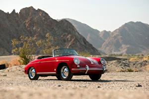 Фотографии Порше Ретро Красный Металлик Кабриолет 1959-62 356B 1600 Roadster by Drauz Машины