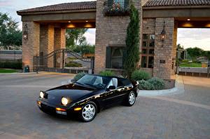 Фотографии Porsche Ретро Черная Металлик Кабриолета 1989-91 944 S2 Cabriolet Автомобили