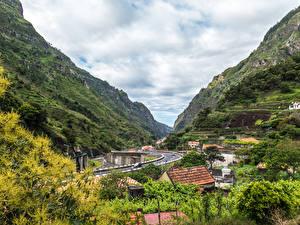 Фотография Португалия Здания Дороги Горы Madeira Serra De Agua