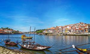 Фотография Португалия Порту Здания Реки Лодки