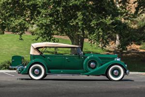 Обои Ретро Зеленый Сбоку 1934 Packard Twelve Phaeton Авто
