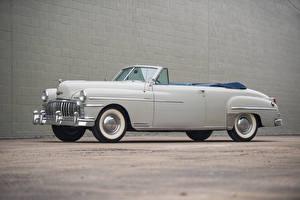 Фотографии Старинные Белых Кабриолета 1949 DeSoto Custom Convertible Автомобили