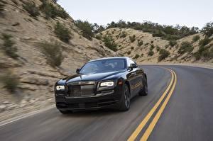 Обои Роллс ройс Едущий Черный Wraith Black Badge Авто