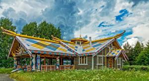 Фото Россия Здания Дизайн Деревянный Mandrogi Города