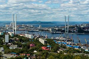 Обои Россия Дома Реки Мосты Пристань Vladivostok