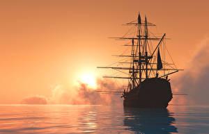 Фотографии Море Рассветы и закаты Корабли Парусные