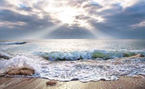 Фото Море Волны Лучи света Горизонта