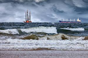 Фото Море Волны Корабли Танкер