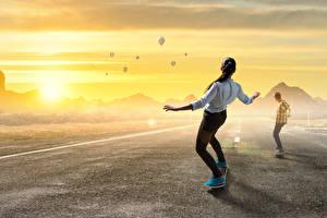 Картинки Роликовая доска Рассветы и закаты Асфальт Аэростат 2 Спорт Девушки