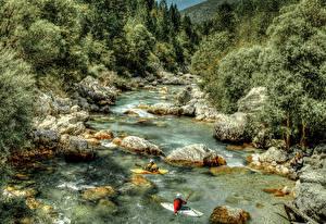 Обои Словения Леса Речка Камень Лодки Природа