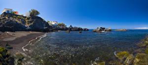 Фотография Испания Берег Камень Канары Скала Tenerife Природа