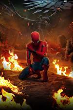 Картинки Человек паук герой Огонь Человек-паук: Возвращение домой