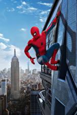 Обои Человек паук герой Небоскребы Человек-паук: Возвращение домой Кино