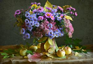 Картинки Натюрморт Букет Астры Яблоки Листва Цветы