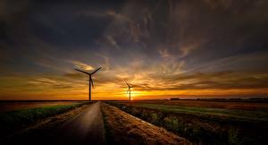 Фото Рассветы и закаты Небо Дороги Ветрогенератор