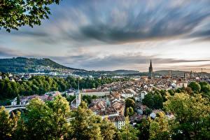 Фотографии Швейцария Берн Дома Небо