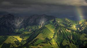 Картинки Швейцария Горы Альпы Ночные