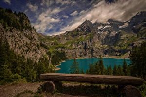 Картинки Швейцария Горы Озеро Пейзаж Ели Скамейка Kanton Bern Природа
