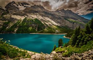Фотографии Швейцария Горы Озеро Пейзаж Kanton Bern