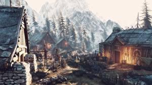Обои The Witcher 3: Wild Hunt Здания Деревня Winter Getaway