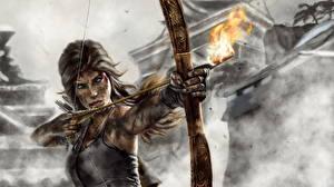 Картинки Tomb Raider 2013 Лучники Пламя Воители Лара Крофт Лук оружие Стрелы Девушки