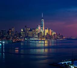Фотографии США Дома Небоскребы Вечер Нью-Йорк